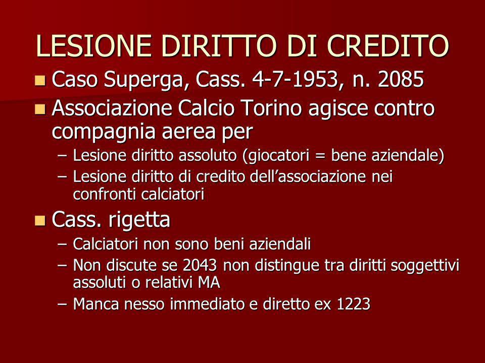 LESIONE DIRITTO DI CREDITO Caso Superga, Cass. 4-7-1953, n. 2085 Caso Superga, Cass. 4-7-1953, n. 2085 Associazione Calcio Torino agisce contro compag