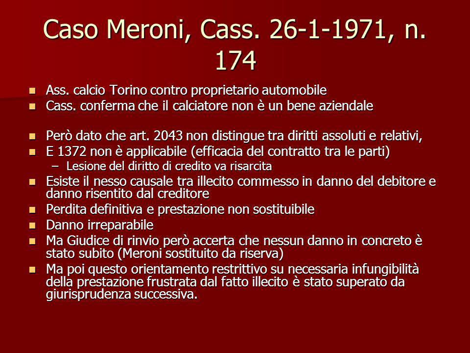 Caso Meroni, Cass. 26-1-1971, n. 174 Ass. calcio Torino contro proprietario automobile Ass. calcio Torino contro proprietario automobile Cass. conferm