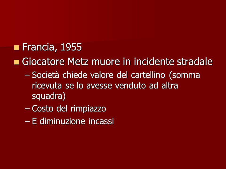 Francia, 1955 Francia, 1955 Giocatore Metz muore in incidente stradale Giocatore Metz muore in incidente stradale –Società chiede valore del cartellin