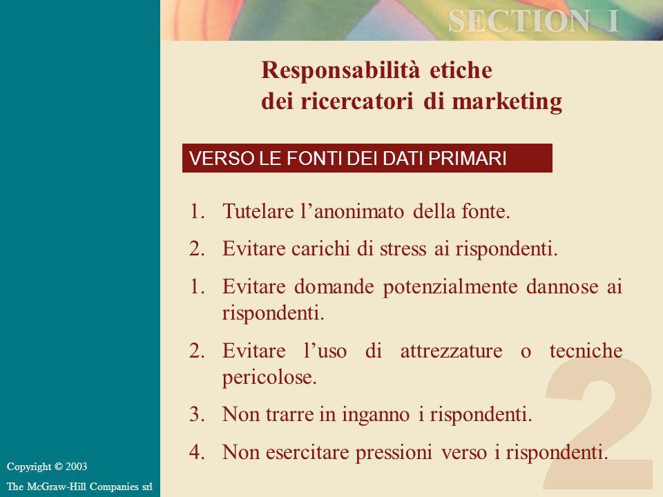 2 Responsabilità etiche dei ricercatori di marketing VERSO LE FONTI DEI DATI PRIMARI 1.Tutelare lanonimato della fonte. 2.Evitare carichi di stress ai