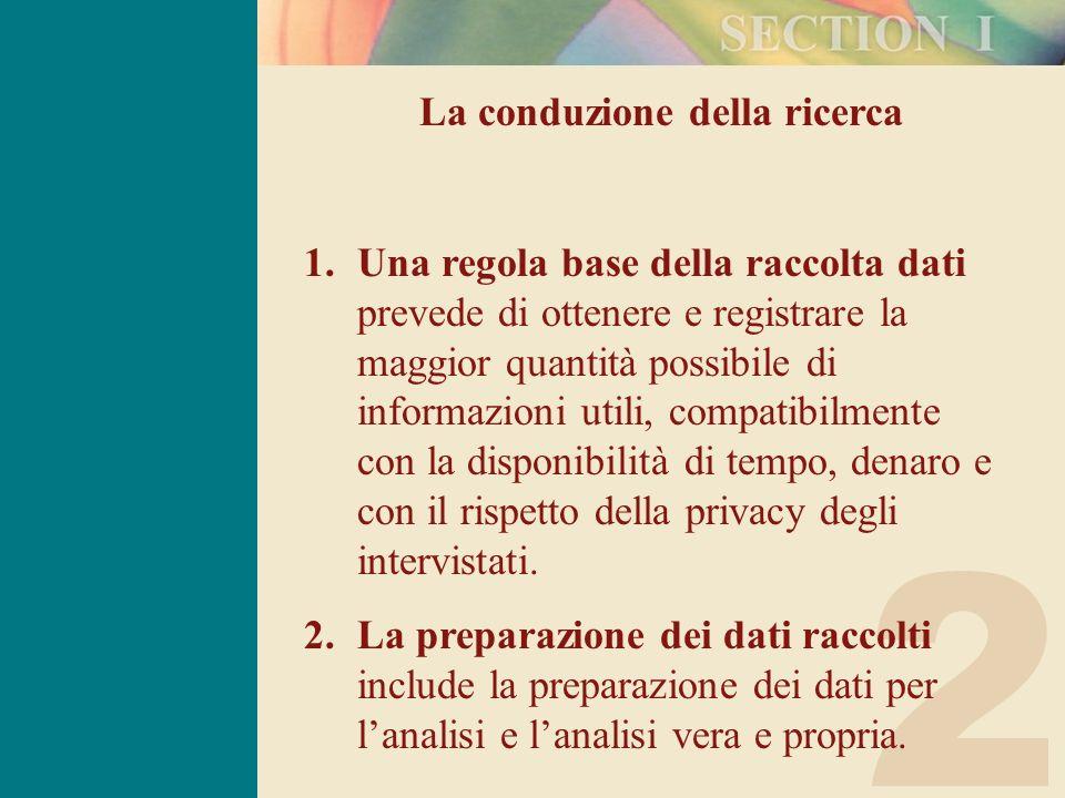 2 La conduzione della ricerca 1.Una regola base della raccolta dati prevede di ottenere e registrare la maggior quantità possibile di informazioni uti