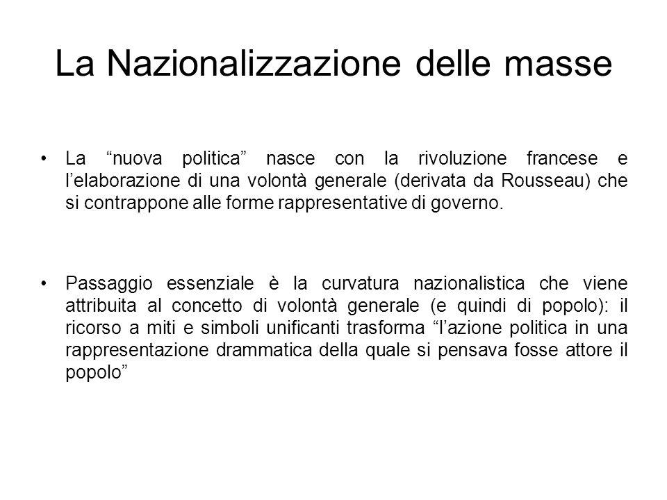La Nazionalizzazione delle masse La nuova politica nasce con la rivoluzione francese e lelaborazione di una volontà generale (derivata da Rousseau) ch