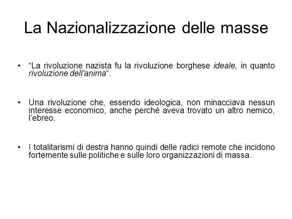 La Nazionalizzazione delle masse La rivoluzione nazista fu la rivoluzione borghese ideale, in quanto rivoluzione dell'anima. Una rivoluzione che, esse