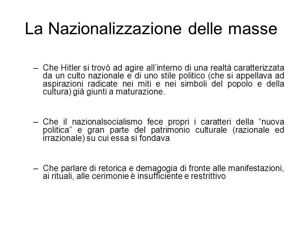 La Nazionalizzazione delle masse –Che Hitler si trovò ad agire allinterno di una realtà caratterizzata da un culto nazionale e di uno stile politico (