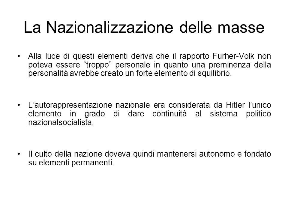 La Nazionalizzazione delle masse Alla luce di questi elementi deriva che il rapporto Furher-Volk non poteva essere troppo personale in quanto una prem