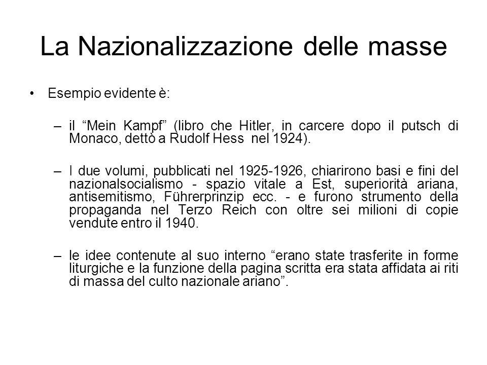 La Nazionalizzazione delle masse Esempio evidente è: –il Mein Kampf (libro che Hitler, in carcere dopo il putsch di Monaco, dettò a Rudolf Hess nel 19