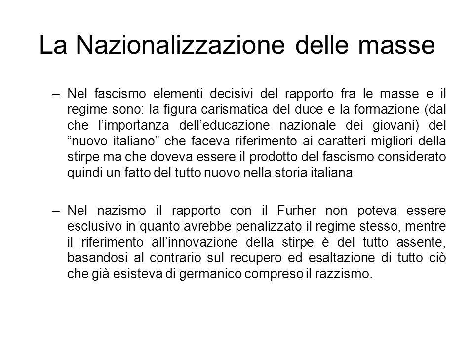 La Nazionalizzazione delle masse –Nel fascismo elementi decisivi del rapporto fra le masse e il regime sono: la figura carismatica del duce e la forma