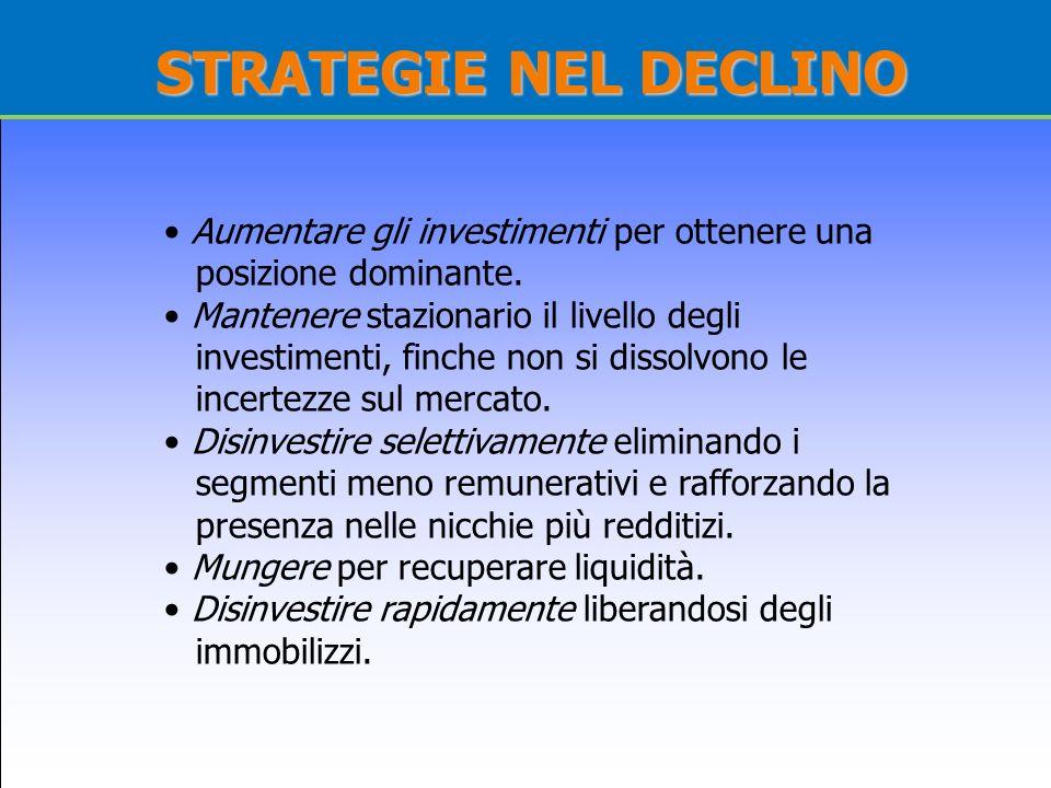 STRATEGIE NEL DECLINO Aumentare gli investimenti per ottenere una posizione dominante. Mantenere stazionario il livello degli investimenti, finche non