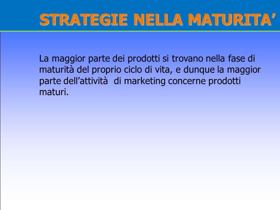STRATEGIE NELLA MATURITA La maggior parte dei prodotti si trovano nella fase di maturità del proprio ciclo di vita, e dunque la maggior parte dellatti
