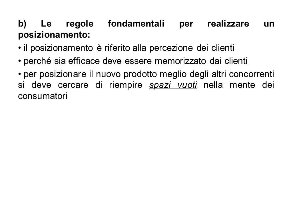 b) Le regole fondamentali per realizzare un posizionamento: il posizionamento è riferito alla percezione dei clienti perché sia efficace deve essere m