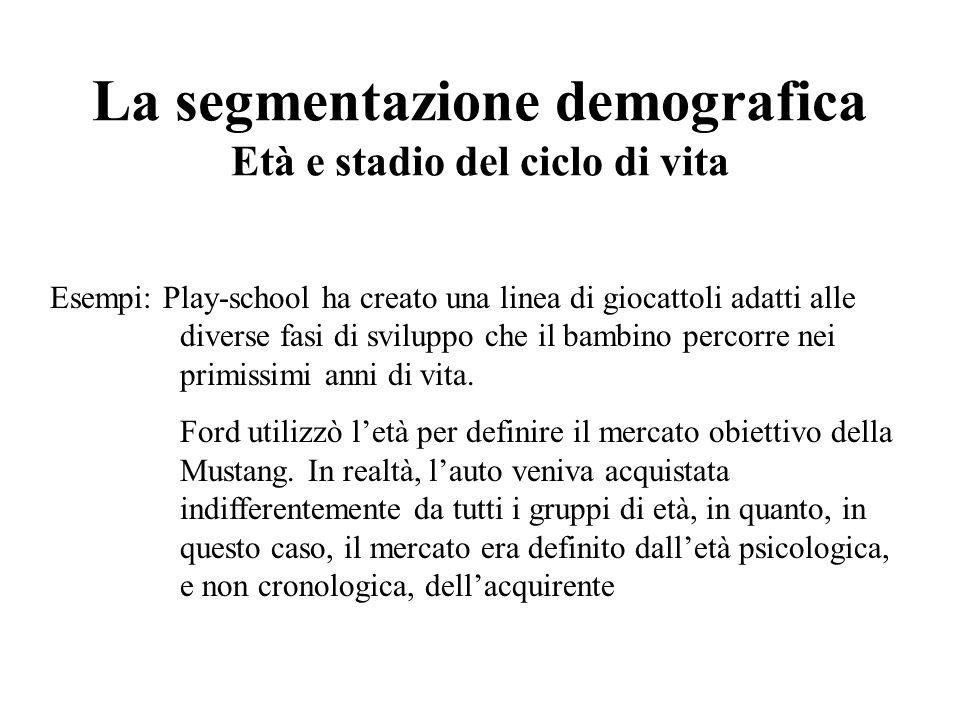 La segmentazione demografica Età e stadio del ciclo di vita Esempi: Play-school ha creato una linea di giocattoli adatti alle diverse fasi di sviluppo