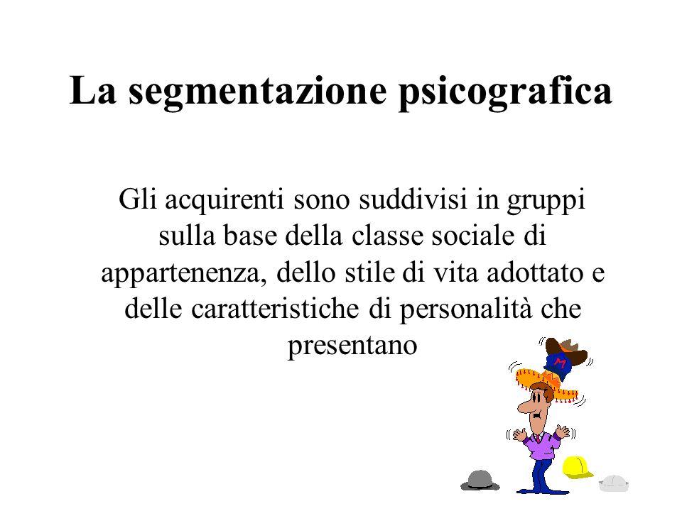 La segmentazione psicografica Gli acquirenti sono suddivisi in gruppi sulla base della classe sociale di appartenenza, dello stile di vita adottato e
