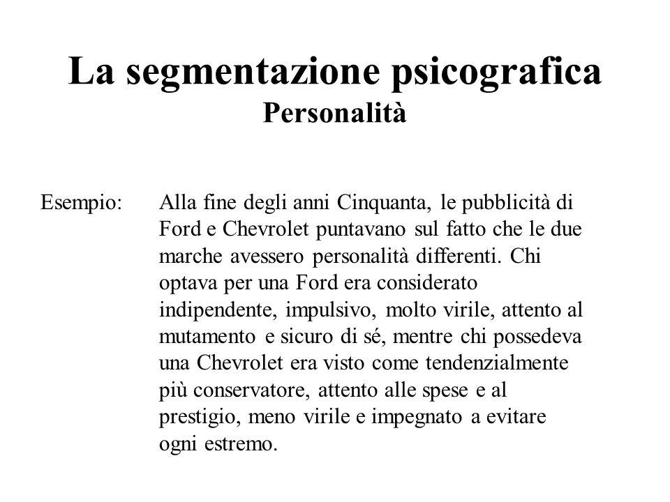 La segmentazione psicografica Personalità Esempio: Alla fine degli anni Cinquanta, le pubblicità di Ford e Chevrolet puntavano sul fatto che le due ma