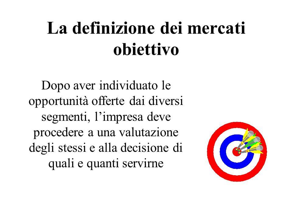 La definizione dei mercati obiettivo Dopo aver individuato le opportunità offerte dai diversi segmenti, limpresa deve procedere a una valutazione degl