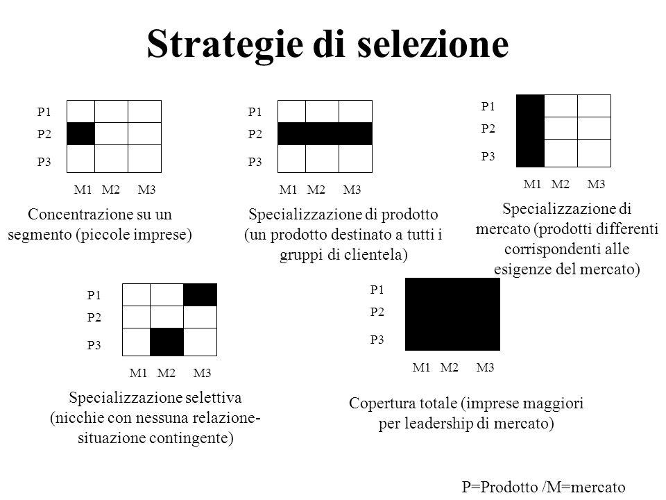 Strategie di selezione P1 P2 P3 M1M2M3 P1 P2 P3 M1M2M3 P1 P2 P3 M1M2M3 P1 P2 P3 M1M2M3 P1 P2 P3 M1M2M3 Concentrazione su un segmento (piccole imprese)