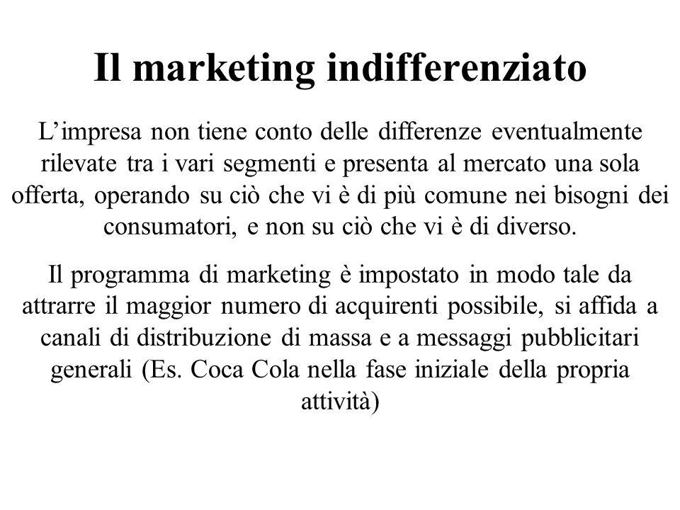 Il marketing indifferenziato Limpresa non tiene conto delle differenze eventualmente rilevate tra i vari segmenti e presenta al mercato una sola offer