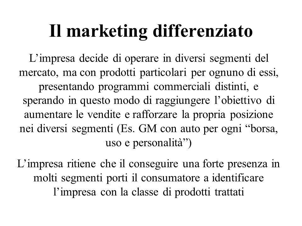 Il marketing differenziato Limpresa decide di operare in diversi segmenti del mercato, ma con prodotti particolari per ognuno di essi, presentando pro