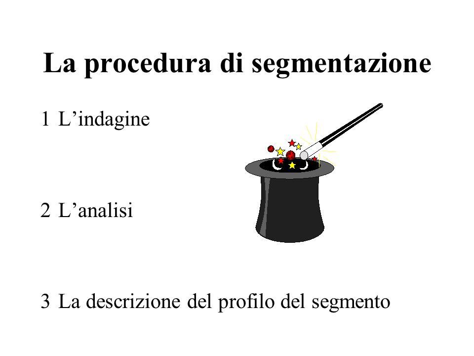 La procedura di segmentazione 1Lindagine 2Lanalisi 3La descrizione del profilo del segmento