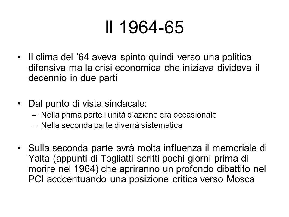 Il 1964-65 Il clima del 64 aveva spinto quindi verso una politica difensiva ma la crisi economica che iniziava divideva il decennio in due parti Dal p