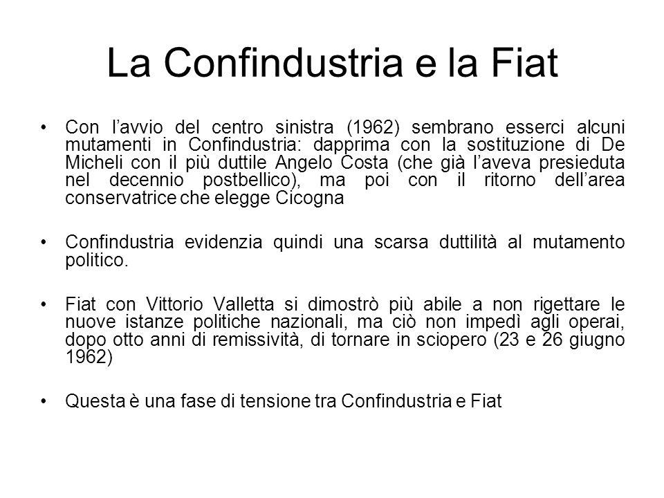La Confindustria e la Fiat Con lavvio del centro sinistra (1962) sembrano esserci alcuni mutamenti in Confindustria: dapprima con la sostituzione di D