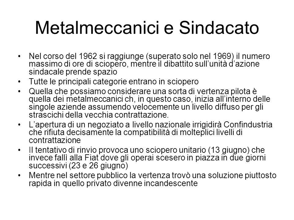 Metalmeccanici e Sindacato Nel corso del 1962 si raggiunge (superato solo nel 1969) il numero massimo di ore di sciopero, mentre il dibattito sullunit