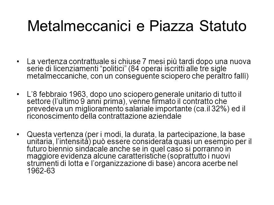 Metalmeccanici e Piazza Statuto La vertenza contrattuale si chiuse 7 mesi più tardi dopo una nuova serie di licenziamenti politici (84 operai iscritti
