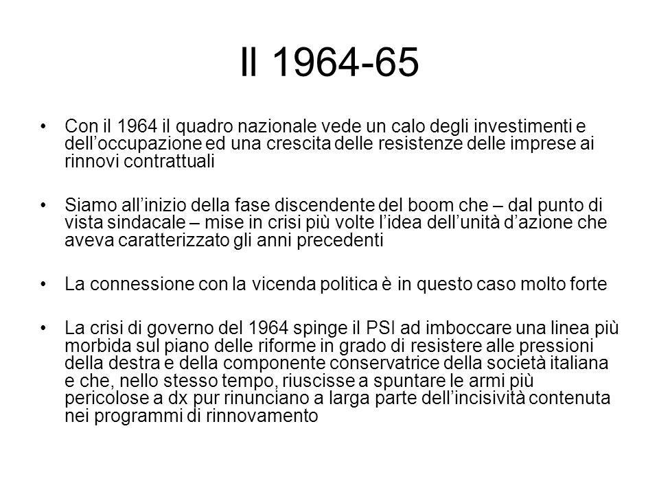 Il 1964-65 Con il 1964 il quadro nazionale vede un calo degli investimenti e delloccupazione ed una crescita delle resistenze delle imprese ai rinnovi