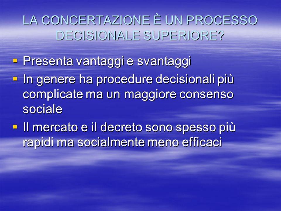 LA CONCERTAZIONE È UN PROCESSO DECISIONALE SUPERIORE.