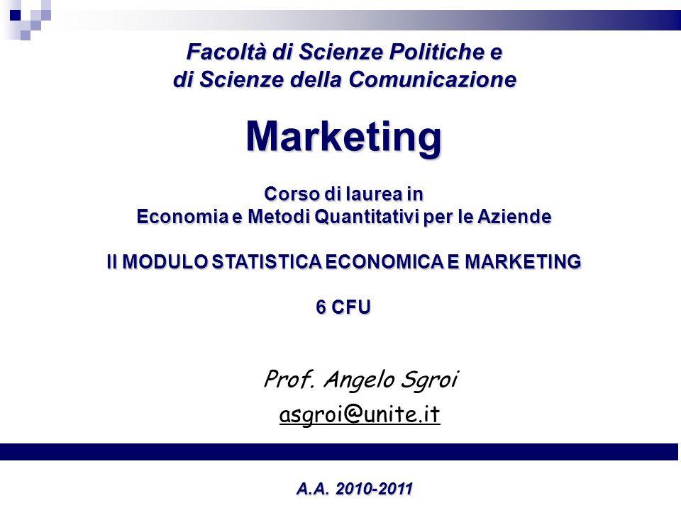 MARKETING DEL TURISMO Prof. Angelo Sgroi asgroi@unite.it Facoltà di Scienze Politiche e di Scienze della Comunicazione A.A. 2010-2011 Marketing Corso