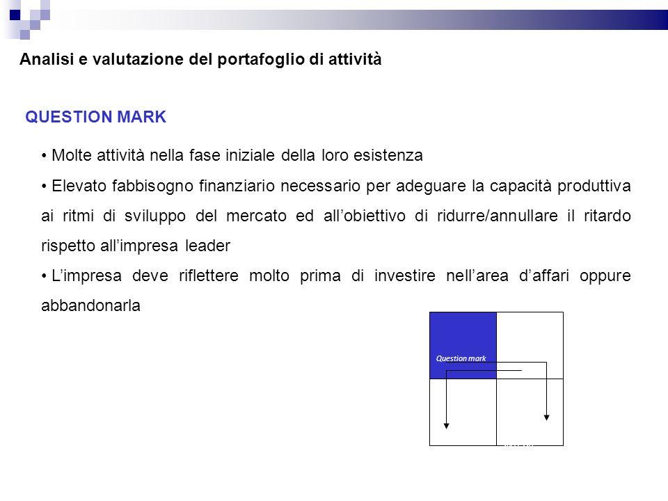 QUESTION MARK Molte attività nella fase iniziale della loro esistenza Elevato fabbisogno finanziario necessario per adeguare la capacità produttiva ai