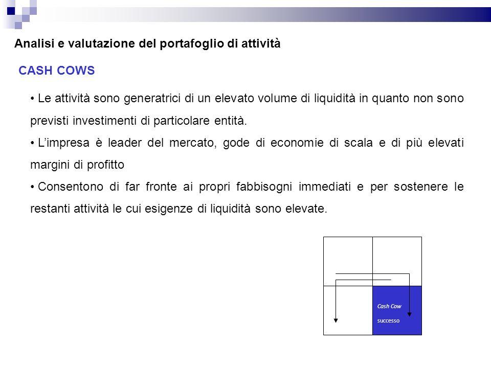Analisi e valutazione del portafoglio di attività CASH COWS Le attività sono generatrici di un elevato volume di liquidità in quanto non sono previsti investimenti di particolare entità.