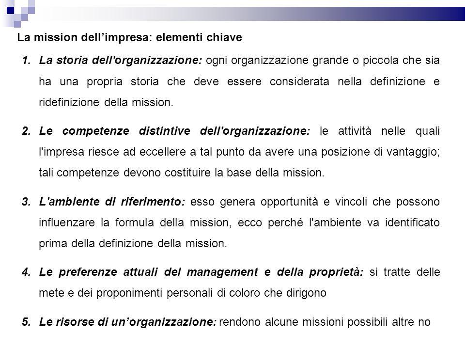 La mission dellimpresa: elementi chiave 1.La storia dell organizzazione: ogni organizzazione grande o piccola che sia ha una propria storia che deve essere considerata nella definizione e ridefinizione della mission.