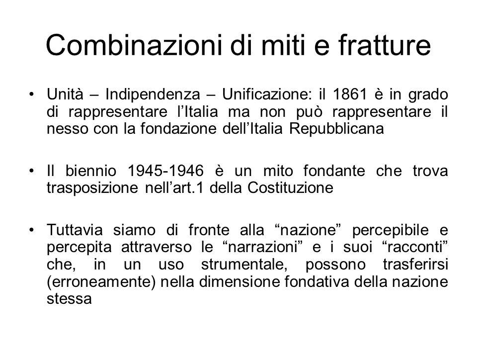 Combinazioni di miti e fratture Unità – Indipendenza – Unificazione: il 1861 è in grado di rappresentare lItalia ma non può rappresentare il nesso con