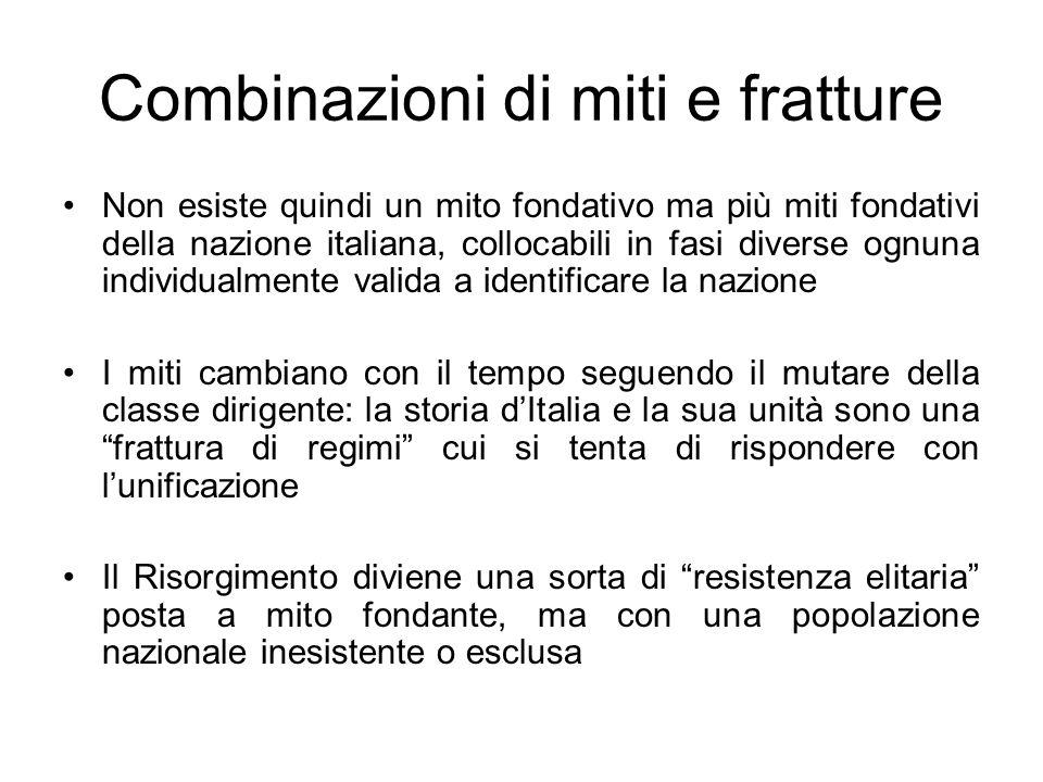 Combinazioni di miti e fratture Non esiste quindi un mito fondativo ma più miti fondativi della nazione italiana, collocabili in fasi diverse ognuna i