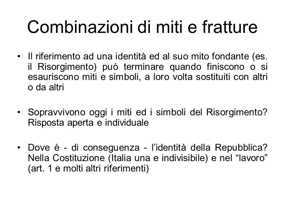 Combinazioni di miti e fratture Il riferimento ad una identità ed al suo mito fondante (es. il Risorgimento) può terminare quando finiscono o si esaur