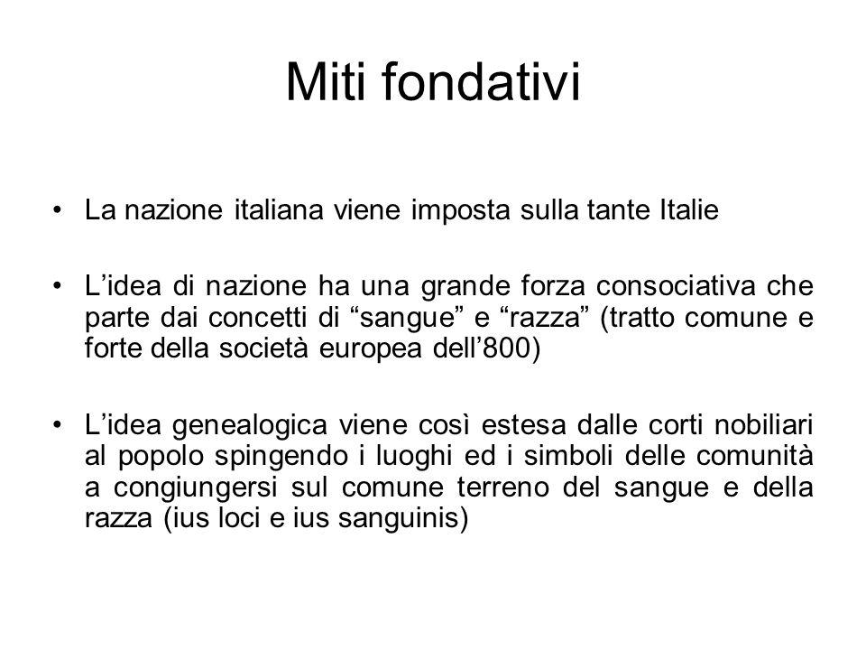 Miti fondativi La nazione italiana viene imposta sulla tante Italie Lidea di nazione ha una grande forza consociativa che parte dai concetti di sangue