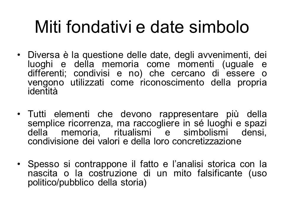 Miti fondativi e date simbolo Diversa è la questione delle date, degli avvenimenti, dei luoghi e della memoria come momenti (uguale e differenti; cond