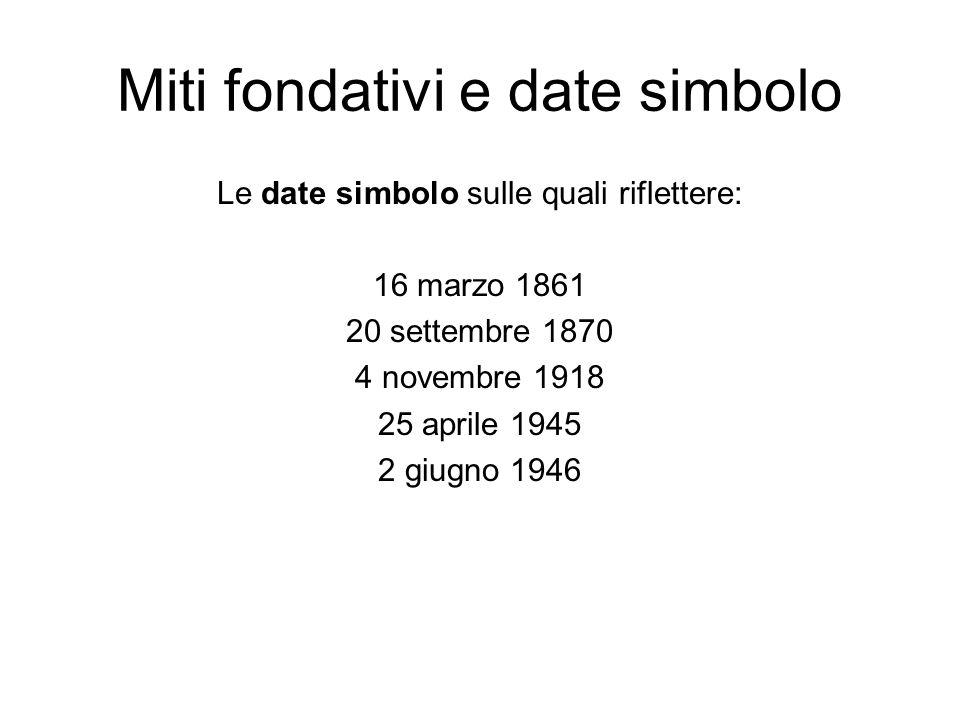 Miti fondativi e date simbolo Le date simbolo sulle quali riflettere: 16 marzo 1861 20 settembre 1870 4 novembre 1918 25 aprile 1945 2 giugno 1946