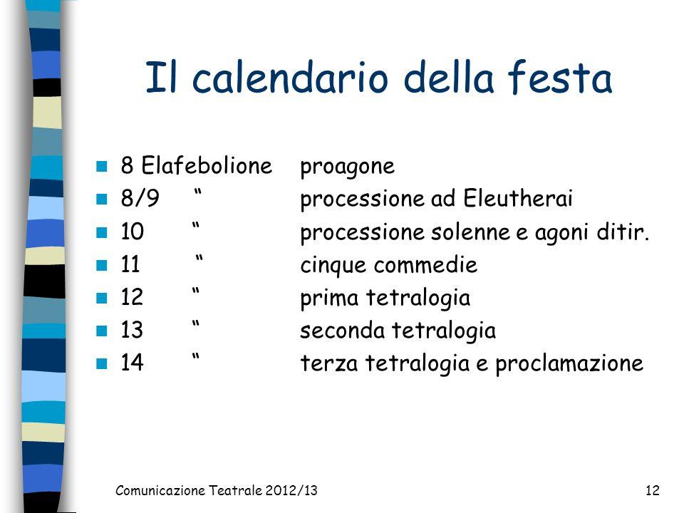 Comunicazione Teatrale 2012/1312 Il calendario della festa 8 Elafebolioneproagone 8/9 processione ad Eleutherai 10 processione solenne e agoni ditir.