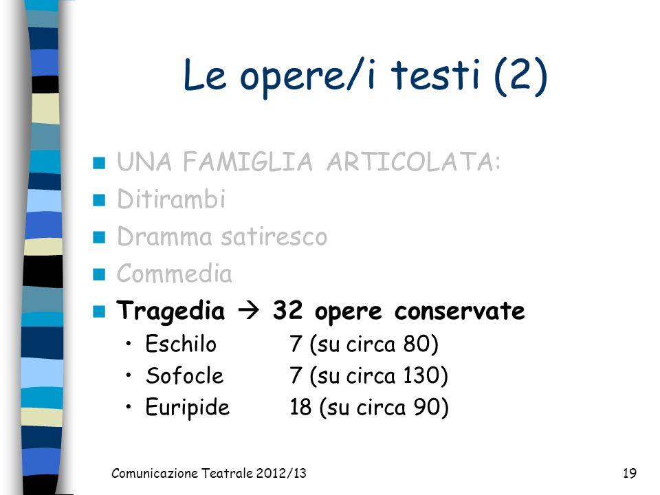 Comunicazione Teatrale 2012/1319 Le opere/i testi (2) UNA FAMIGLIA ARTICOLATA: Ditirambi Dramma satiresco Commedia Tragedia 32 opere conservate Eschilo7 (su circa 80) Sofocle7 (su circa 130) Euripide18 (su circa 90)