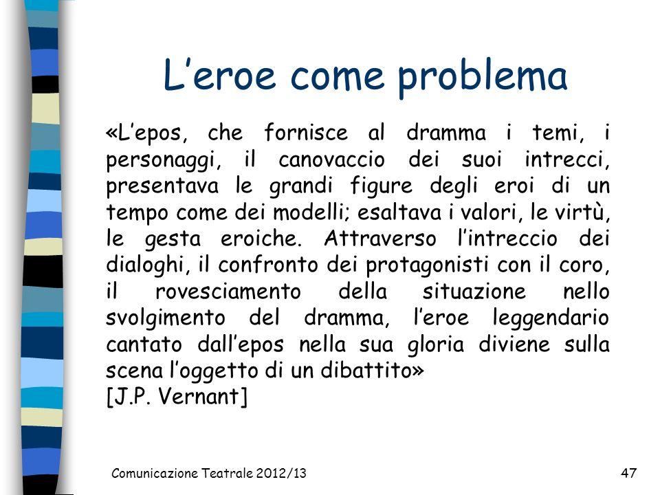 Leroe come problema Comunicazione Teatrale 2012/1347 «Lepos, che fornisce al dramma i temi, i personaggi, il canovaccio dei suoi intrecci, presentava le grandi figure degli eroi di un tempo come dei modelli; esaltava i valori, le virtù, le gesta eroiche.