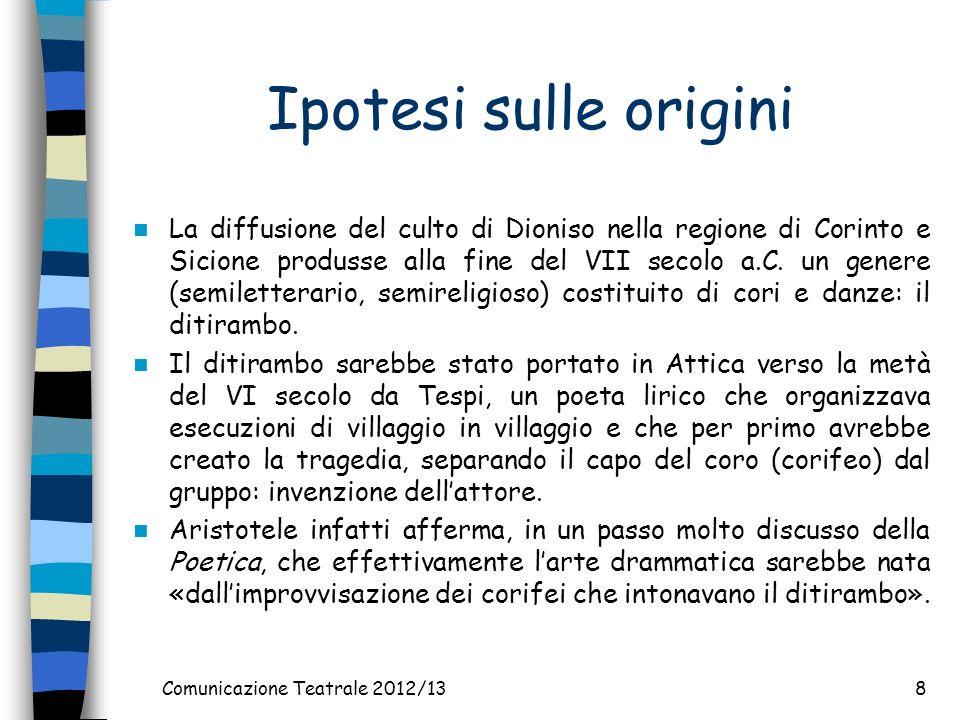 Comunicazione Teatrale 2012/138 Ipotesi sulle origini La diffusione del culto di Dioniso nella regione di Corinto e Sicione produsse alla fine del VII secolo a.C.