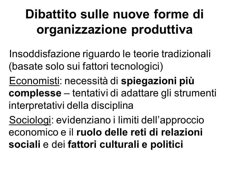 Dibattito sulle nuove forme di organizzazione produttiva Insoddisfazione riguardo le teorie tradizionali (basate solo sui fattori tecnologici) Economi