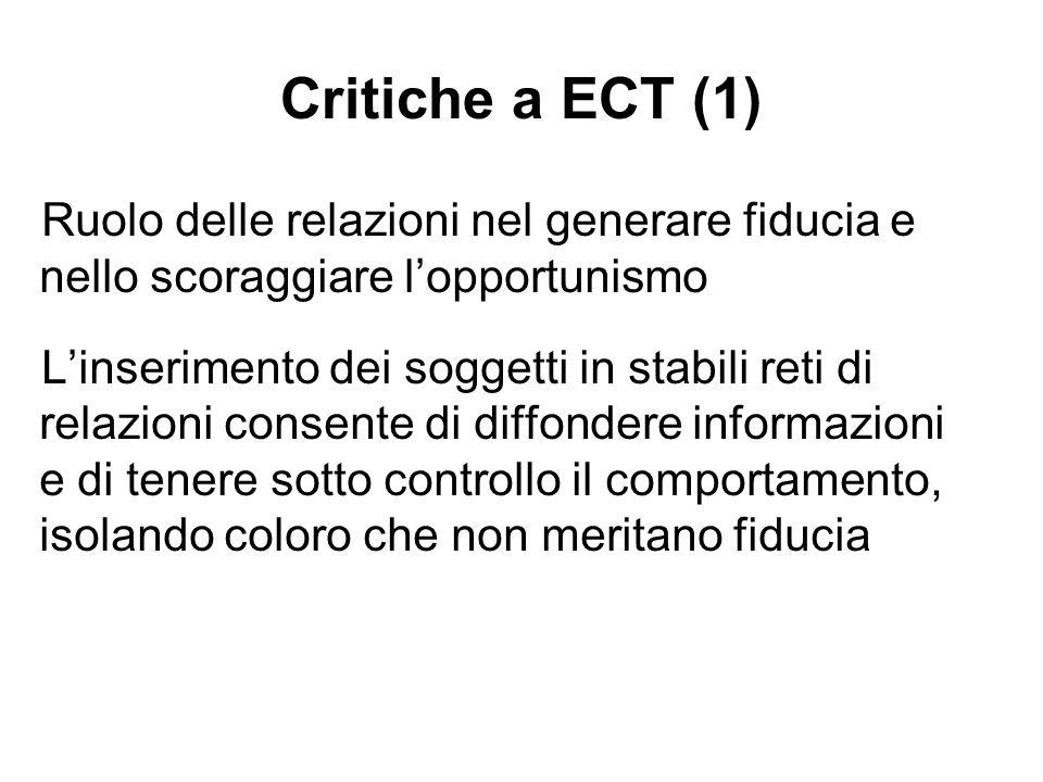 Critiche a ECT (1) Ruolo delle relazioni nel generare fiducia e nello scoraggiare lopportunismo Linserimento dei soggetti in stabili reti di relazioni