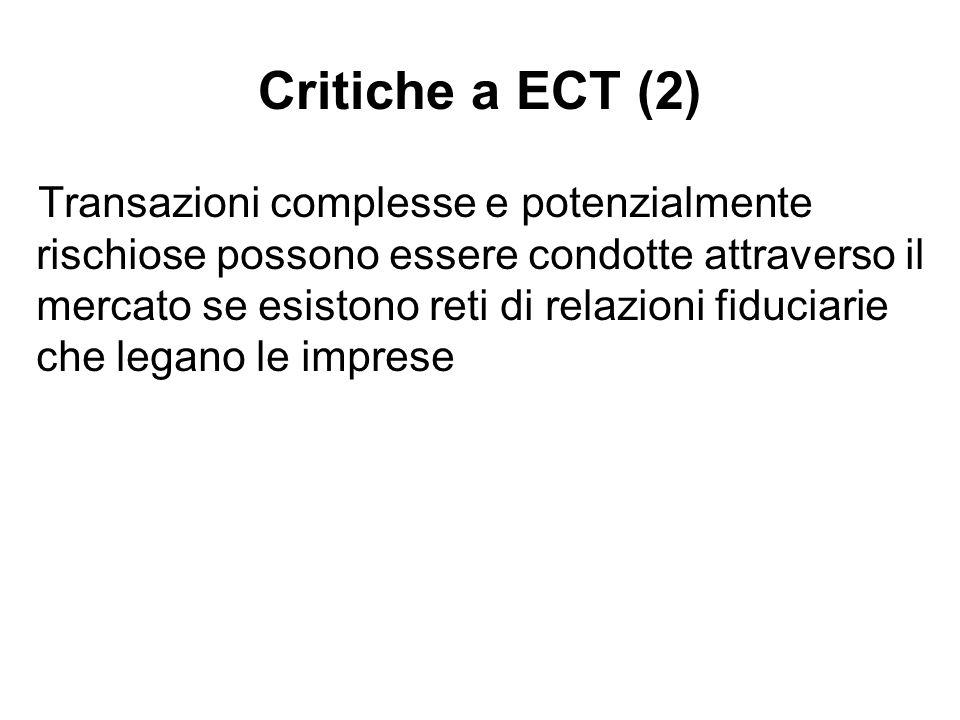 Critiche a ECT (2) Transazioni complesse e potenzialmente rischiose possono essere condotte attraverso il mercato se esistono reti di relazioni fiduci