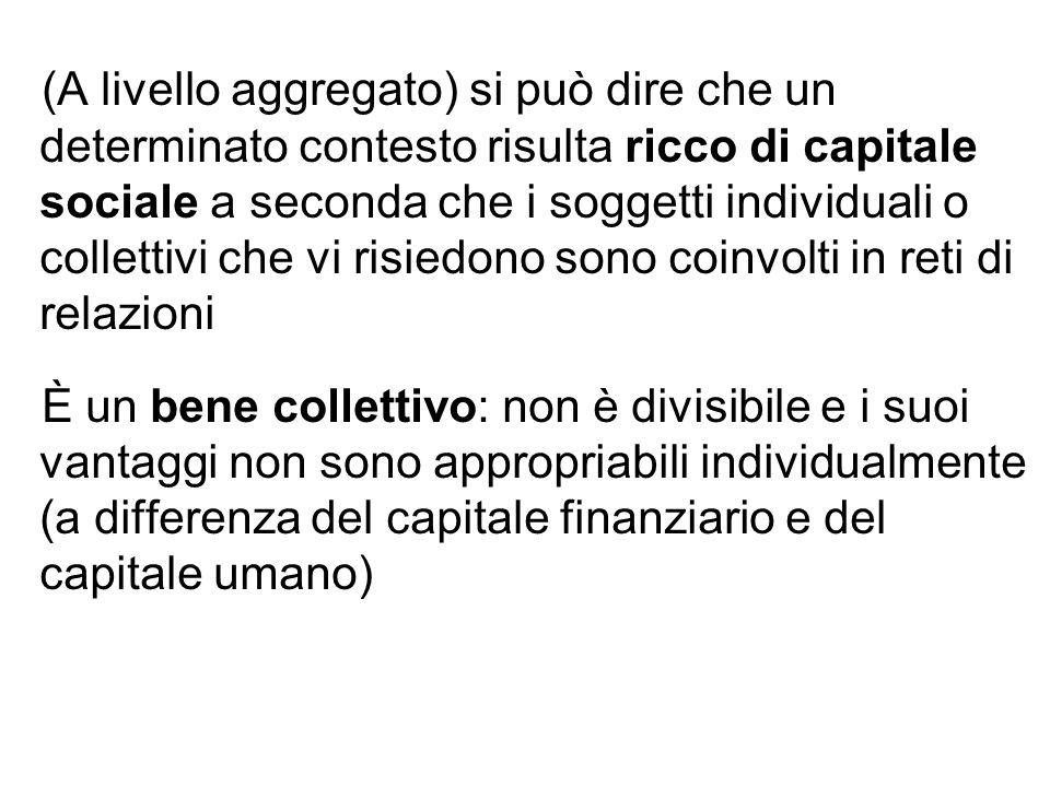 (A livello aggregato) si può dire che un determinato contesto risulta ricco di capitale sociale a seconda che i soggetti individuali o collettivi che