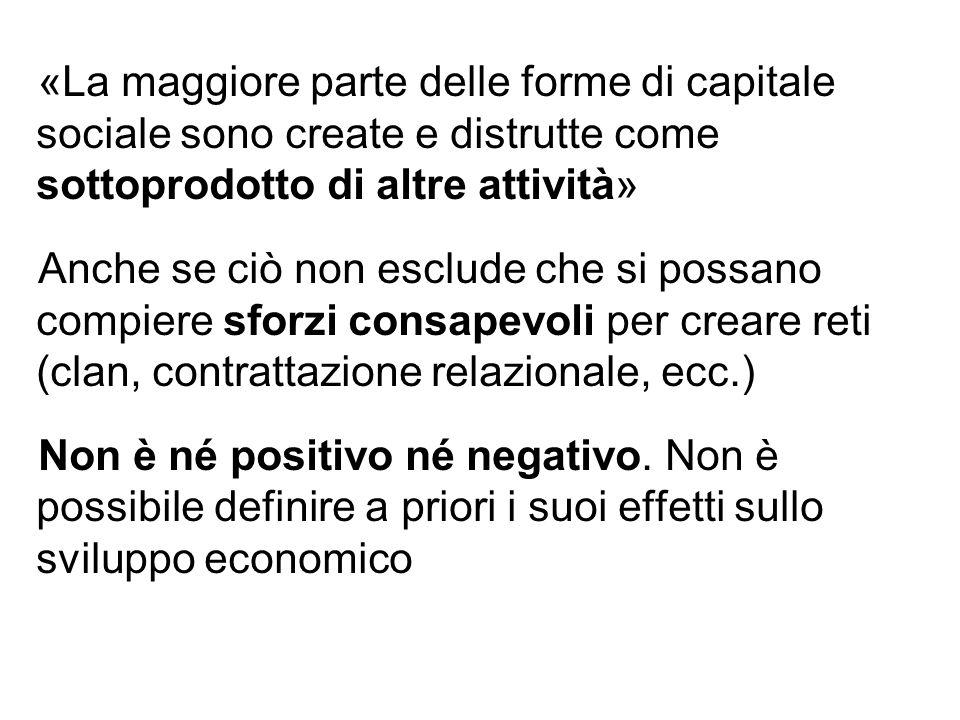 «La maggiore parte delle forme di capitale sociale sono create e distrutte come sottoprodotto di altre attività» Anche se ciò non esclude che si possa