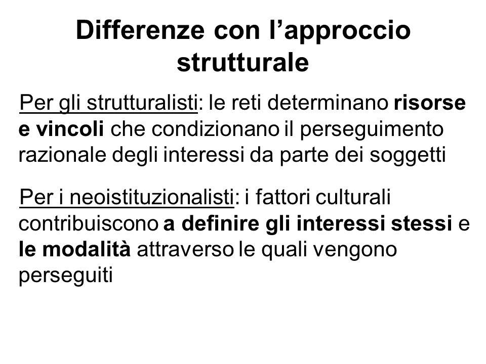 Differenze con lapproccio strutturale Per gli strutturalisti: le reti determinano risorse e vincoli che condizionano il perseguimento razionale degli