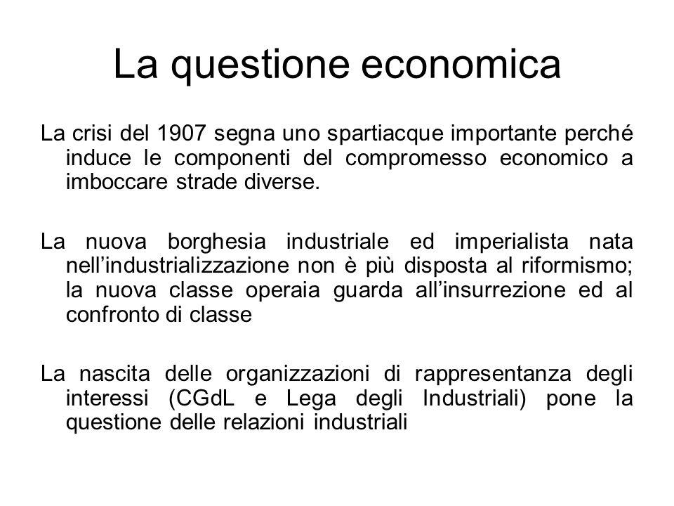 La questione economica La crisi del 1907 segna uno spartiacque importante perché induce le componenti del compromesso economico a imboccare strade div