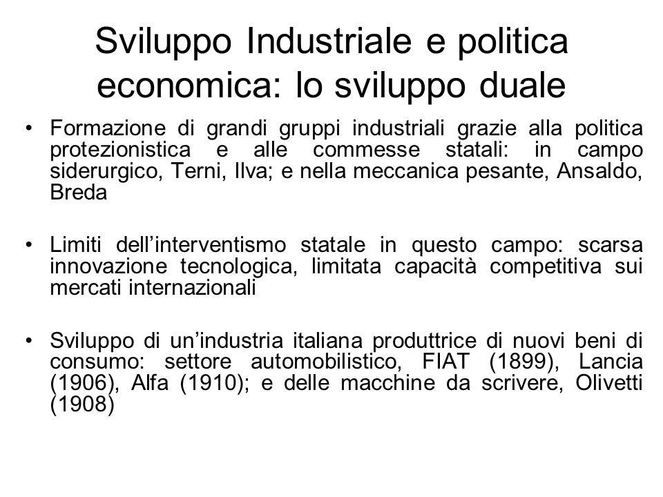Sviluppo Industriale e politica economica: lo sviluppo duale Formazione di grandi gruppi industriali grazie alla politica protezionistica e alle comme